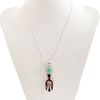 Artisan Turquoise Sterling Silver and Walrus Ivory Fossil Pendant Necklace