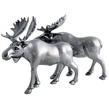 Moose Salt & Pepper Shaker Pair Made From Sterling Silver Pewter