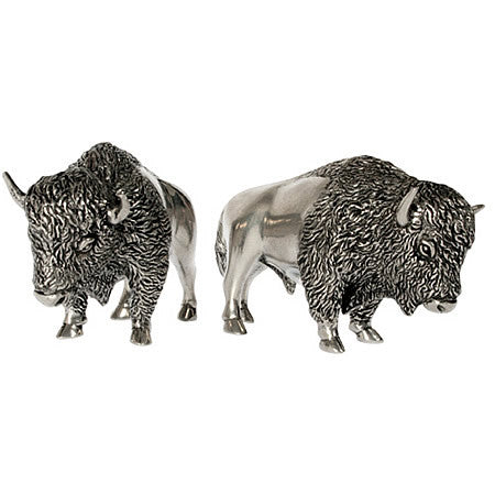 Bison Salt and Pepper Shaker Pair From Sterling Silver Pewter