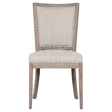 Amarillo Side Chair in Stone Wash Oak with Bisque Colored French Linen Damask and Small Black Tacks Trim