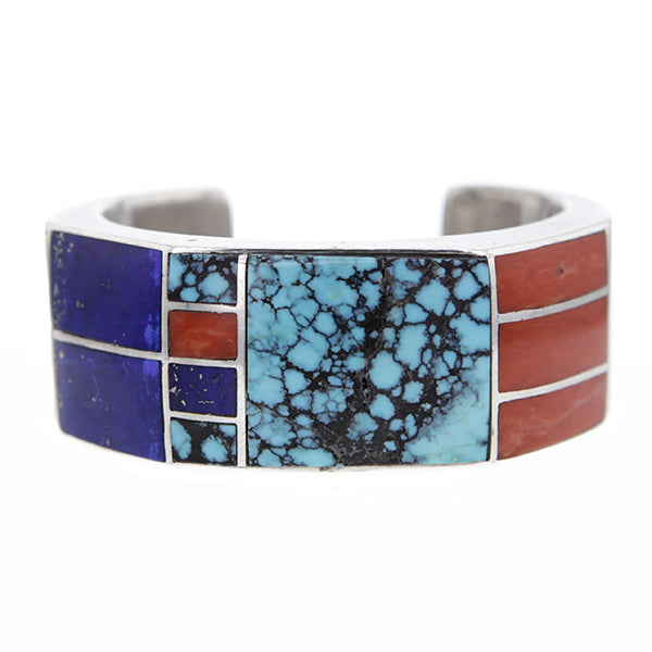 Vintage Zuni Inlay Cuff Bracelet By Roger Tsabetsaye Hollywood