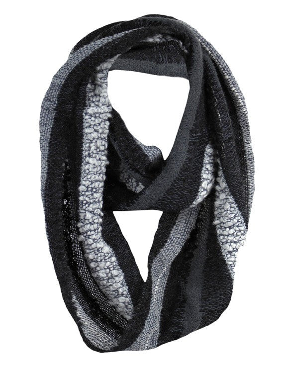 Charcoal Hypoallergenic Boucle Infinity Scarf made from Baby Alpaca Wool