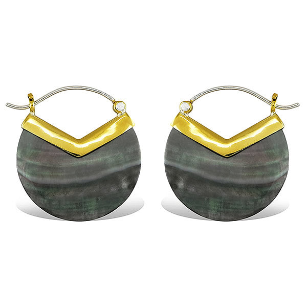 Gray Abalone Shell Earrings with Brass Detail