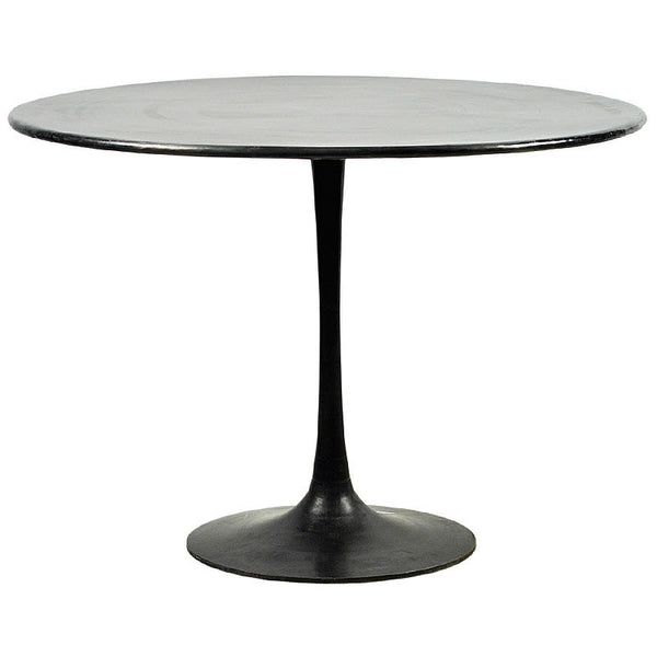 "Aldo 42"" Modern Industrial Metal Round Pedestal Table with Antiqued Finish"
