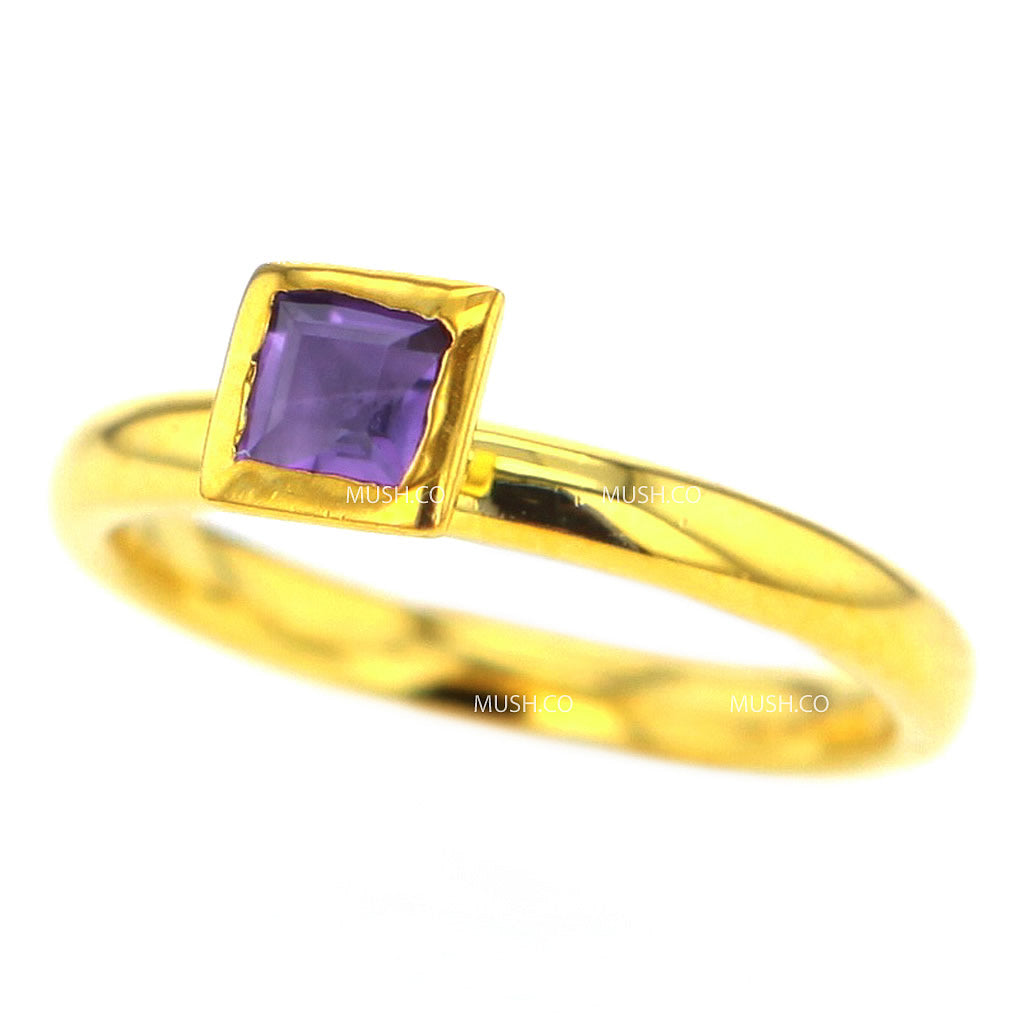 14K Gold Plated Sterling Silver Ring with Square Amethyst Crystal Size 7 Hollywood