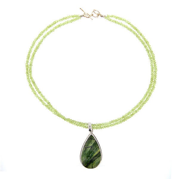 "16"" Peridot Bead Necklace with a Stunning Australian Opal Teardrop Pendant"