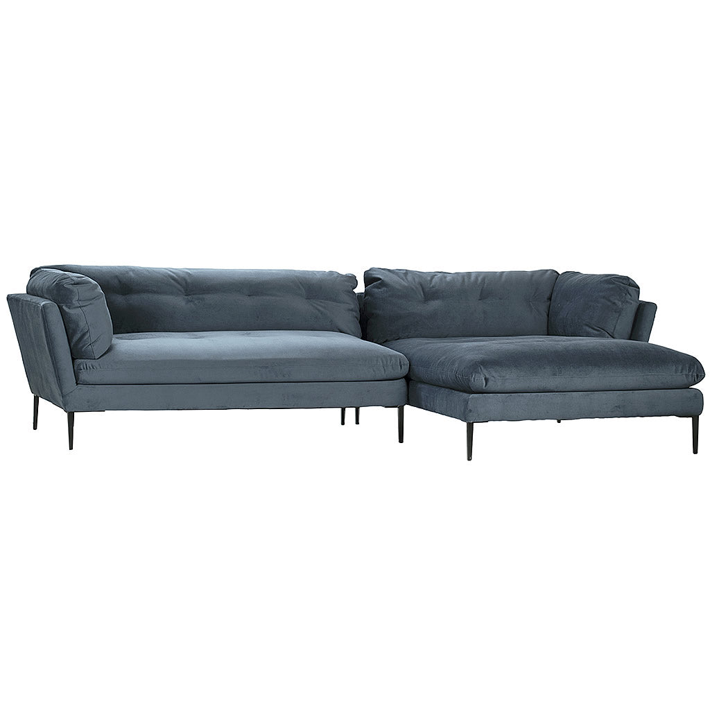 Avanza Ocean Blue Modern L Shaped Sofa