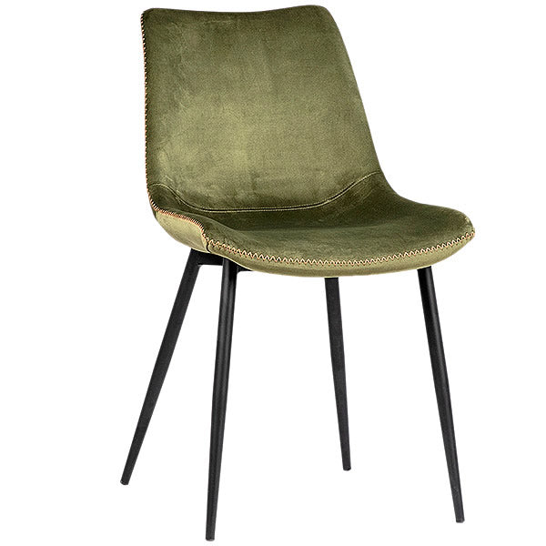 Christiano Dining Chair in Avocado Green Poly Damask & Stitch Accent Hollywood