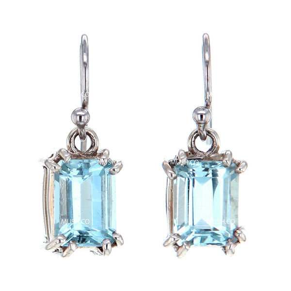 Baguete Cut Aquamarine Crystal Earrings