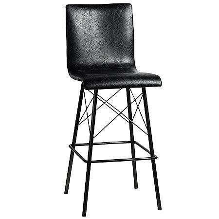 Domenica Black Leather Bar Stool in Bicast Leather Upholstery and Black Powder Coating