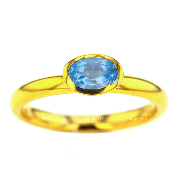 14K Gold Plated Sterling Silver Ring with Oval Blue Topaz Crystal Size 7