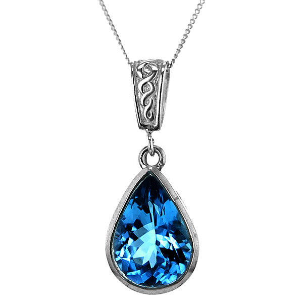 Blue Topaz Teardrop in Sterling silver Pendant Necklace