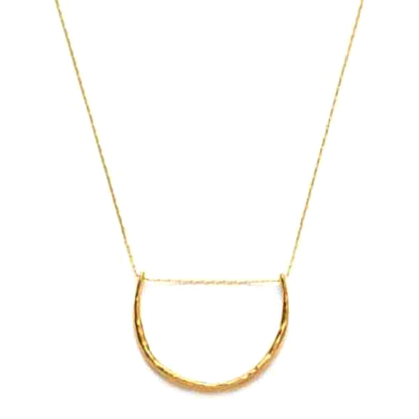 Boho Chic Crescent Necklace in 14K Gold Plated Brass