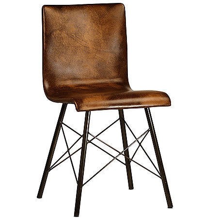 Born Mid-Century Modern Leather Chair with Steel Tube Frame Hollywood