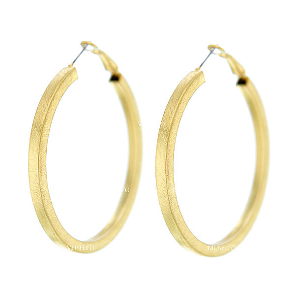 Faceted Gold Filled Sterling Silver Hoop Earrings with Brushed Finish