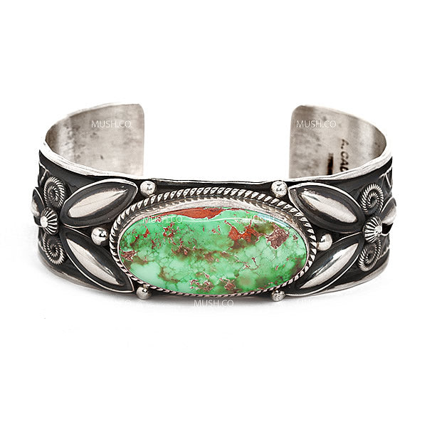 Sterling Silver Navajo Cuff Bracelet with Royston Turquoise by A Cadman