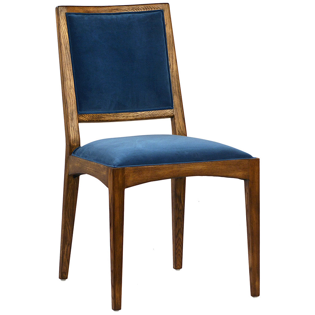 Dining Room Chair with Solid Oak Frame and Dyed Velvet Upholstery Hollywood