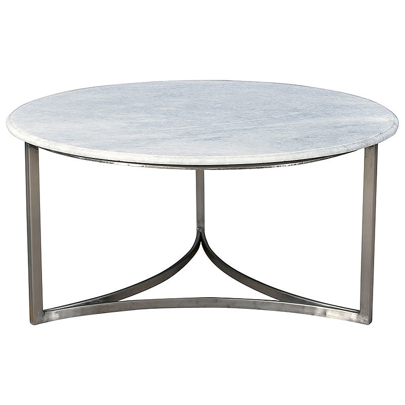 "Cherie 36"" Marble and Antiqued Nickel Mid Century Modern Coffee Table"