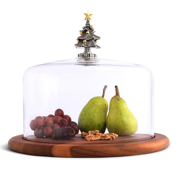 Festive Christmas Tree Glass Covered Cheese Board