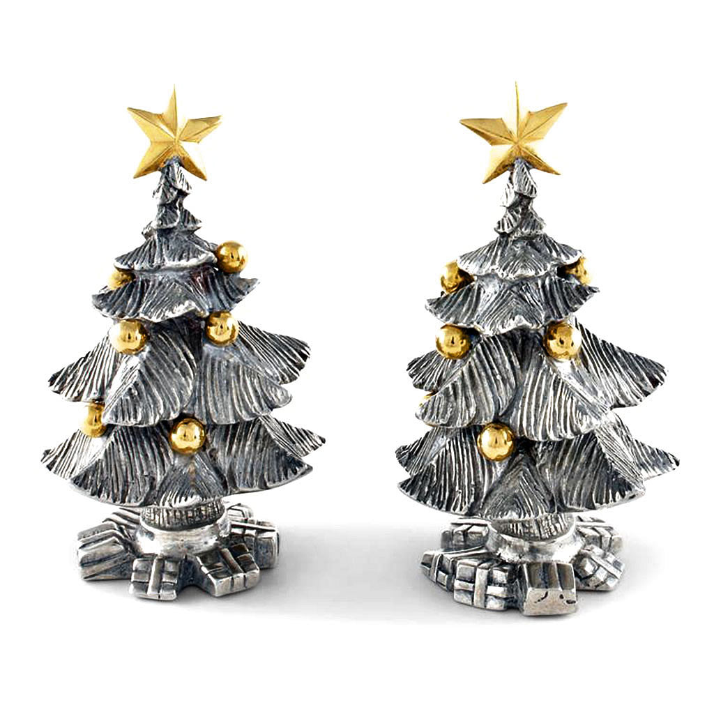 Christmas Tree Salt & Pepper Shaker Set From Sterling Silver Pewter Hollywood