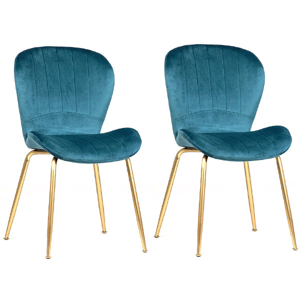 Pair of Modern Retro Dining Chairs in Blue Velvet and Gold