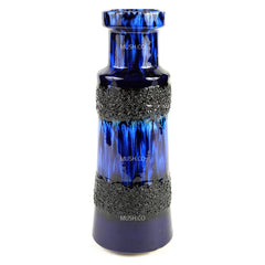 Cobalt Blue and Black Lava Glaze Vase Made in West Germany by Scheurich