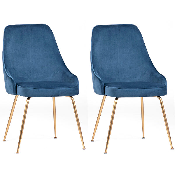 Bouvette Pair of Mid Century Style Dining Chairs in Blue Velvet Hollywood
