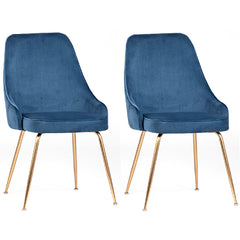 Bouvette Pair of Mid Century Style Dining Chairs in Blue Velvet