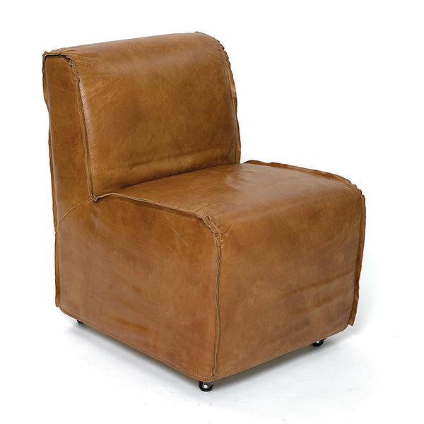 Columbus Luxurious Leather Club Chair in Highest Quality Leather and Exposed Stitching