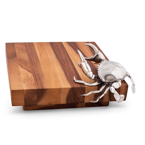 Crab Crustacean Cheese Board From Sterling Silver Pewtar & Oak Wood Hollywood