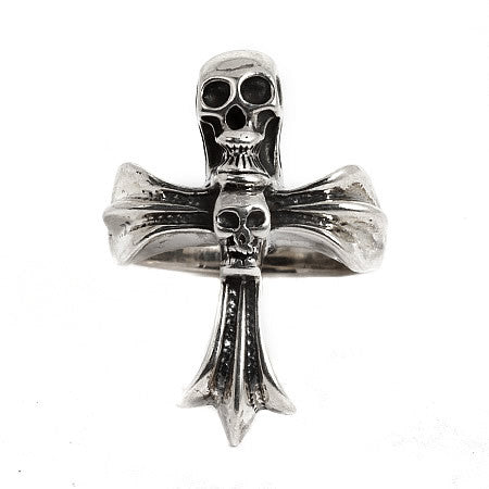 Sterling Silver Cross and Skull Ring