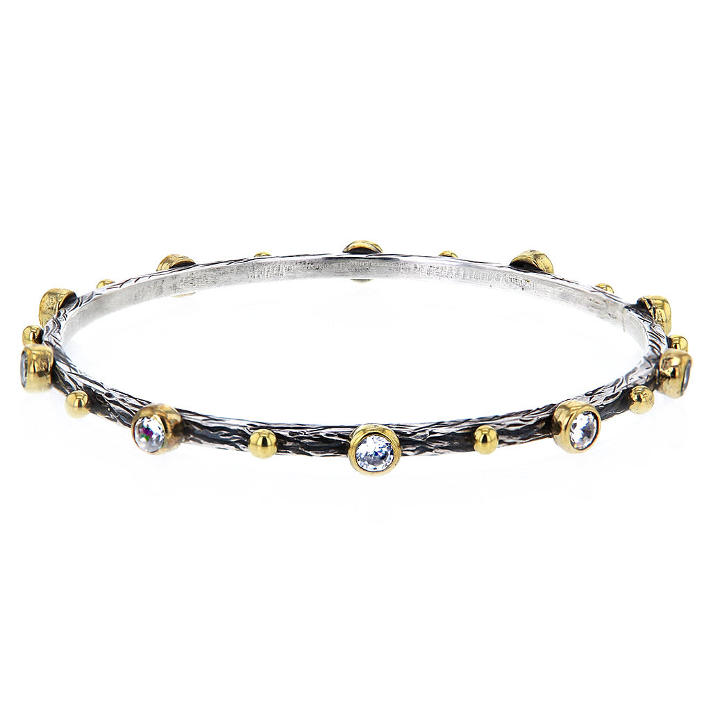 Hammered Sterling Silver Gold Plate and Crystal Studs Bangle by Bora