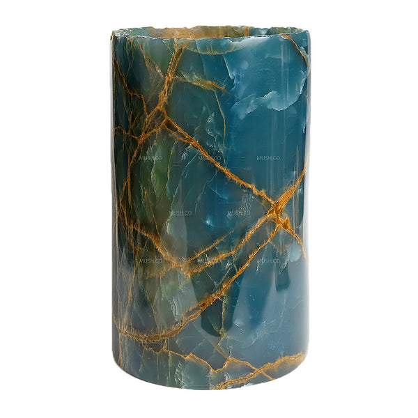 Cylinrical Blue Onyx Lamp