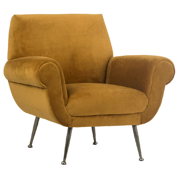 Danish Modern Style Armchair in Burnt Orange Polyester Upholstery Hollywood
