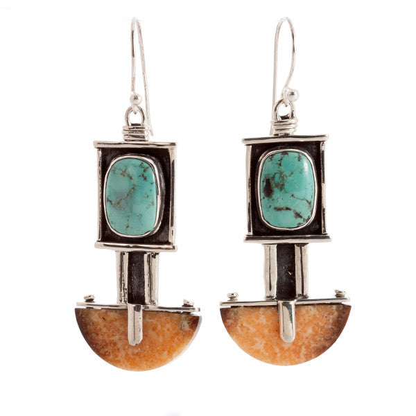 Deco Turquoise and Sterling Silver Earrings with Walrus Tusk Fossil by Edward Lawrence