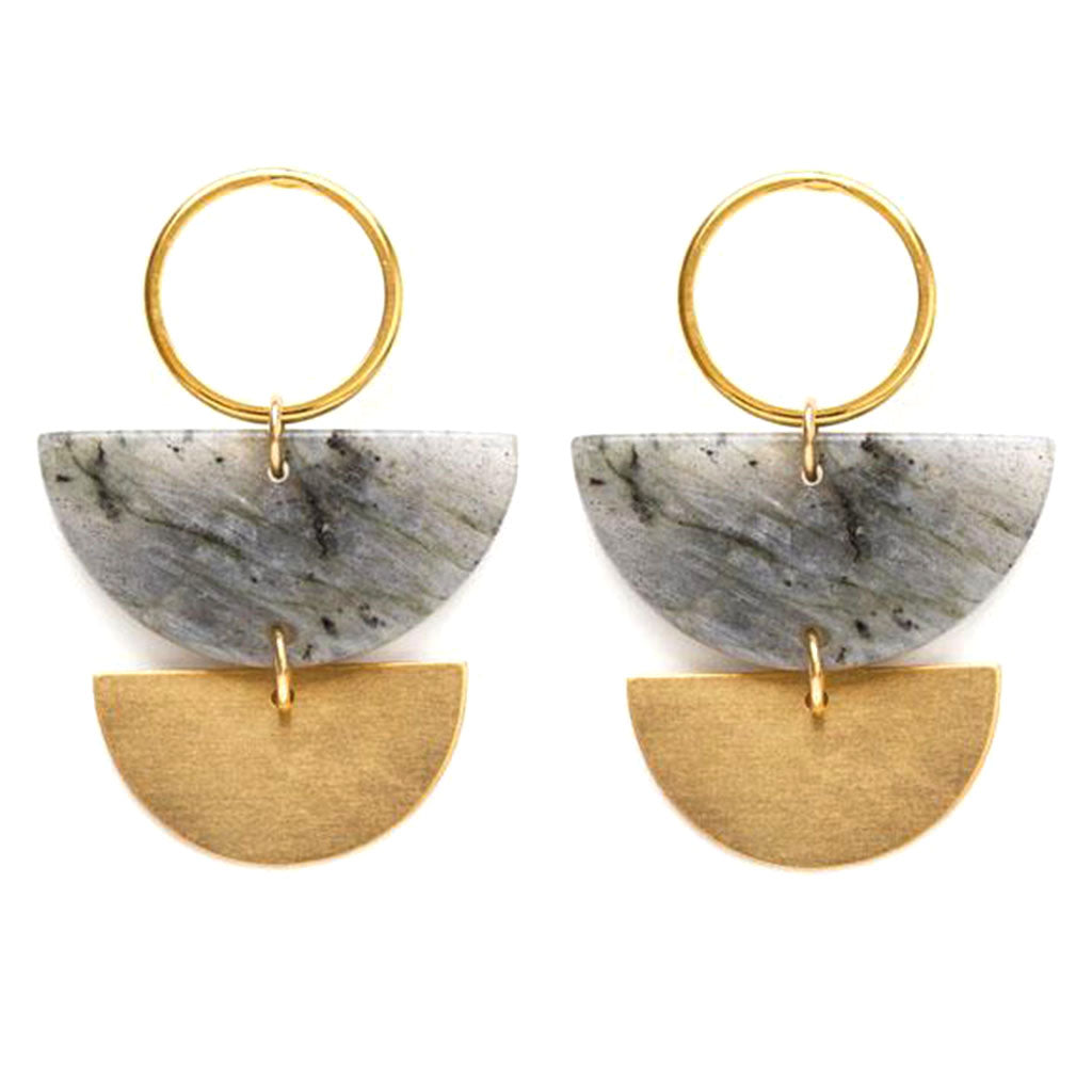Demicircle Labradorite Earrings