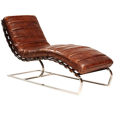 Modern Chaise Lounge in Cognac Vintage Leather & Chrome Plated Steel Frame