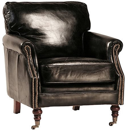 DeMille Luxurious Vintaged Leather Armchair with Exposed Antiqued Tacks Hollywood