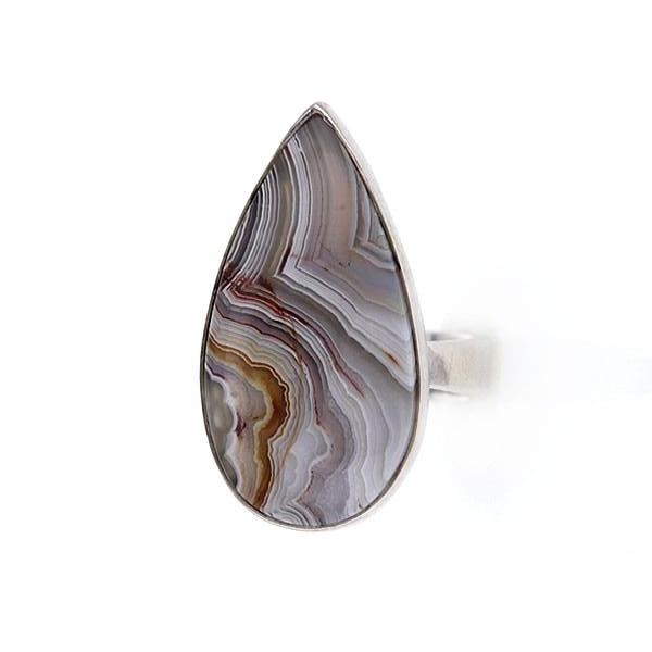 Iridescent Botswana Agate Sterling Silver Teardrop Ring Size 6