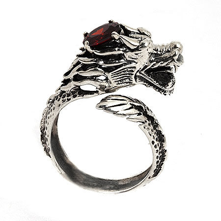 Dragon Ring with Garnet Crown sculpted from 925 Sterling Silver