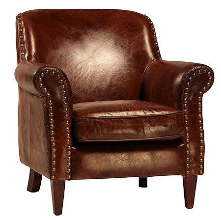 Dublin Luxurious Leather Armchair in Top Grain Leather with Exposed Antique Tacks Hollywood