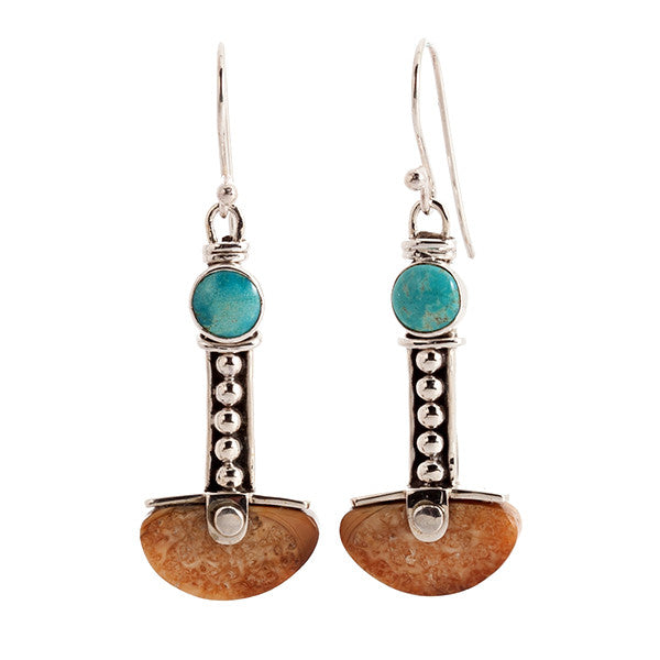 Anchor Turquoise and Sterling Silver Earrings with Walrus Tusk Fossil