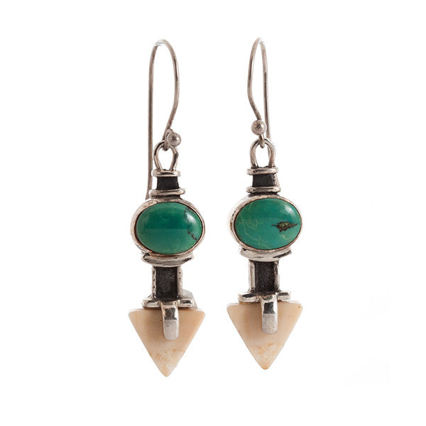 Arrrow Turquoise and Sterling Silver Earrings with Walrus Tusk Fossil by Edward Lawrence