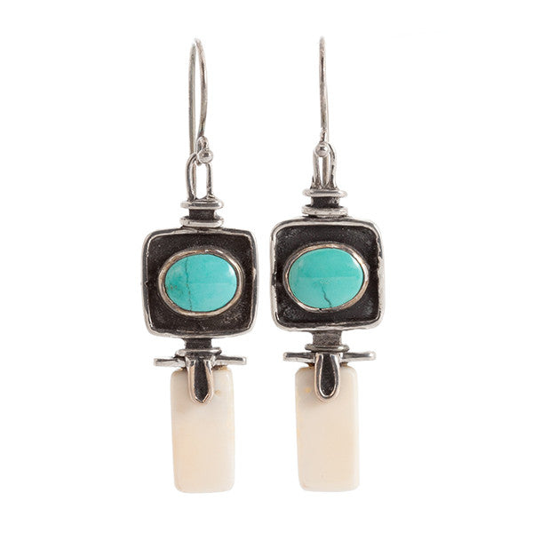 Pozu Turquoise and Sterling Silver Earrings with Fossil Walrus Tusk by Edward Lawrence