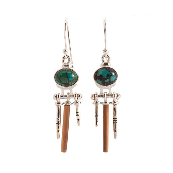 Spaceman Turquoise and Sterling Silver Earrings with Fossil Walrus Tusk by Edward Lawrence