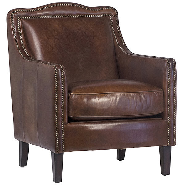 Edinburgh Luxurious Brown Leather Arm Chair with Exposed Brass Tacks Hollywood