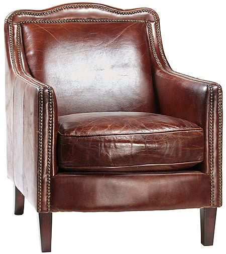 Edinburgh Luxurious Leather Armchair in Top Grain Leather with Exposed Brass Tacks