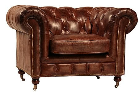 Edward Luxurious Leather Tufted Chesterfield Armchair In Top Grain Leather  And Caster Legs