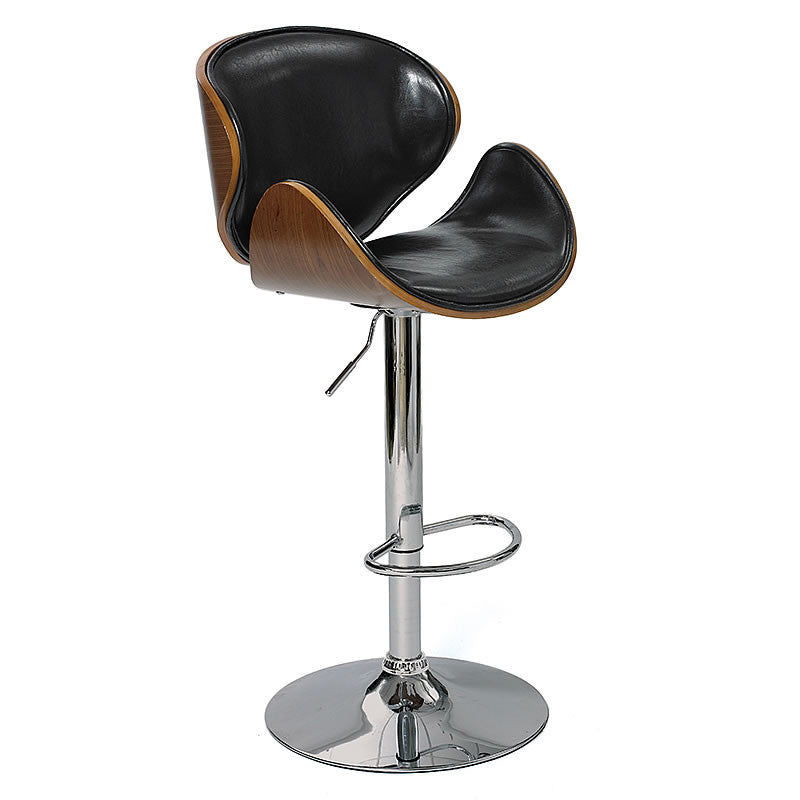 Arne Wood and Leather Barstool with High Polish Chrome Base in Classic Egg Design Hollywood