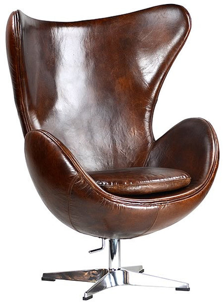 Arne Jacobson style Egg Armchair Brown Leather and Chrome Swivel Base